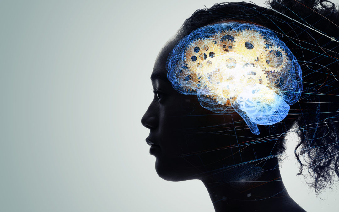 silhouette of women with brain of gears